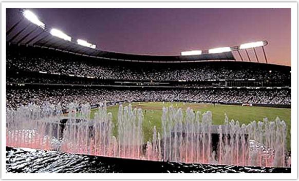 Waterfalls and fountains at the Kauffman Stadium in Kansas City, Missouri copy