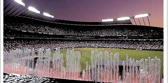 Waterfalls and fountains at the Kauffman Stadium in Kansas City, Missouri copy