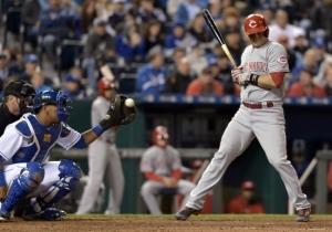 May 19, 2015; Kansas City, MO, USA; Cincinnati Reds catcher Devin Mesoraco (39) steps back from a close pitch in the eighth inning against the Kansas City Royals at Kauffman Stadium. The Royals won 3-0.  Mandatory Credit: Denny Medley-USA TODAY Sports