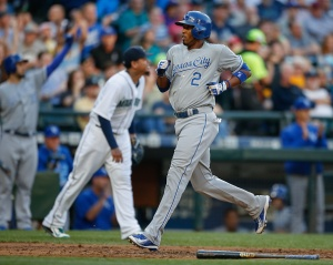 SEATTLE, WA - JUNE 22:  Alcides Escobar #2 of the Kansas City Royals scores on an RBI double off the bat of Mike Moustakas in the second inning against the Seattle Mariners at Safeco Field on June 22, 2015 in Seattle, Washington.  (Photo by Otto Greule Jr/Getty Images)