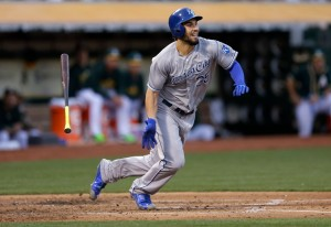 Kansas City Royals' Eric Hosmer flings his bat after hitting a two-run single off Oakland Athletics' Jesse Hahn futinh the third inning of a baseball game Friday, June 26, 2015, in Oakland, Calif. (AP Photo/Ben Margot)