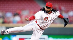 Sep 23, 2013; Cincinnati, OH, USA; Cincinnati Reds starting pitcher Johnny Cueto (47) pitches during the first inning against the New York Mets at Great American Ball Park. Mandatory Credit: Frank Victores-USA TODAY Sports