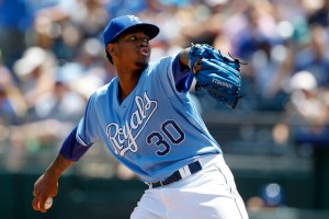 Kansas City Royals pitcher Yordano Ventura throws in the first inning of a baseball game against the Kansas City Royals in Kansas City, Mo., Sunday, July 26, 2015. (AP Photo/Colin E. Braley)