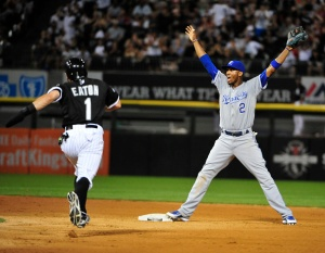 CHICAGO, IL - JULY 17:  Alcides Escobar #2 of the Kansas City Royals yells for throw to second base as Adam Eaton #1 of the Chicago White Sox is safe during the seventh inning on July 17, 2015 at U.S. Cellular Field  in Chicago, Illinois. (Photo by David Banks/Getty Images)