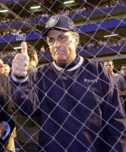 394801 05: New York City Mayor Rudolph Giuliani gestures before the Mets'' game against the Atlanta Braves at Shea Stadium in Flushing, NY September 21, 2001 in the first major sporting event in the New York area since the World Trade Center disaster. (Photo by Ezra Shaw/Allsport/Getty Images)