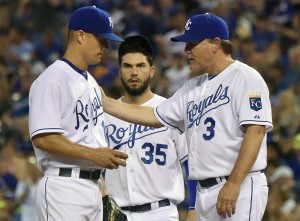 July 03, 2015: Kansas City Royals Manager Ned Yost relieves Kansas City Royals' starting pitcher Jeremy Guthrie (11) in the seventh inning during a Major League Baseball  game between the Minnesota Twins and the Kansas City Royals at Kauffman Stadium in Kansas City. The Royals won in ten innings, 3-2.