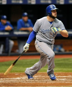 Kansas City Royals' Mike Moustakas hits a RBI-double off Tampa Bay Rays starter Jake Odorizzi during the fourth inning of a baseball game Saturday, Aug. 29, 2015, in St. Petersburg, Fla. (AP Photo/Steve Nesius)