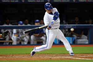 April 13, 2015: Toronto Blue Jays Third base Josh Donaldson (20) [7086] bats during the Tampa Bay Rays 2-1 victory over the Toronto Blue Jays at Rogers Centre in Toronto, ON