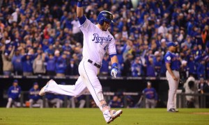 Oct 27, 2015; Kansas City, MO, USA; Kansas City Royals left fielder Alex Gordon (4) celebrates after hitting a solo home run against the New York Mets in the 9th inning in game one of the 2015 World Series at Kauffman Stadium. Mandatory Credit: Jeff Curry-USA TODAY Sports ORG XMIT: USATSI-245840 ORIG FILE ID: 20151027_jla_ac1_235.jpg
